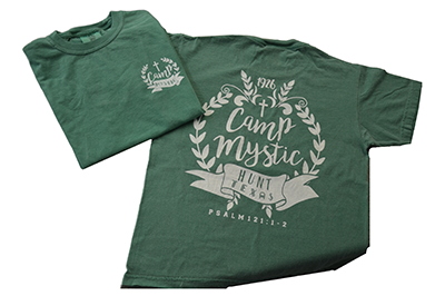 NEW! Green Classic Shirt – $20.00 Green Comfort Color shirt with Camp Mystic design on back.