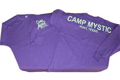 "NEW! Long-sleeved Jersey T-Shirt - $40.00 Purple t-shirt with ""CAMP MYSTIC"" in mint green across back shoulders."
