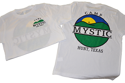 Sunset T-shirt – $15.00 White shirt with Camp Mystic sunset logo on back. Youth Small available.
