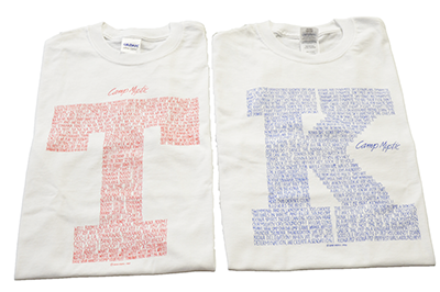 Tribe Yell Shirt - $15.00 White shirt with Red T or Blue K filled with tribe cheers. Choose Tonk or Kiowa.